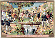 First Franco-Hova War 1883-1886: Charles Le Myre de Vilers, French Resident-General carried across a waterfall.  War ended with the Treaty of Tamatave, January 1886. Chromolithograph  Colonisation Malagassy Madagascar Trade Card