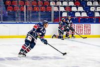 2020-01-22   Kallinge, Sweden: Krif hockey (64) Oskar Lindgren during the warming up before the game between Krif hockey and Halmstad Hammers at Soft Center Arena (Photo by: Jonathan Persson   Swe Press Photo)<br /> <br /> Keywords: kallinge, Ishockey, Icehockey, hockeyettan, allettan södra, soft center arena, krif hockey, halmstad hammers (Match code: krhh200122)