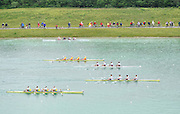 Munich, GERMANY.   GBR M4X. Bow.  Steve ROWBOTHAM, Charles COUSINS, Bill LUCAS and Sam TOWNSEND, winning their afternoon semi final of the men's pairs. 2010 FISA World Cup. Olympic Rowing Course, Munich.  Saturday  19/06/2010   [Mandatory Credit Peter Spurrier/ Intersport Images]