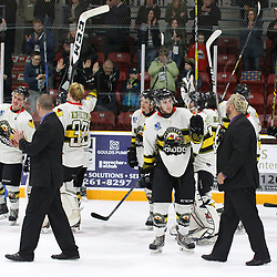 TRENTON, ON  - MAY 5,  2017: Canadian Junior Hockey League, Central Canadian Jr. &quot;A&quot; Championship. The Dudley Hewitt Cup Game 7 between Georgetown Raiders and the Powassan Voodoos.   Powassan Voodoos players and coaches thank their fans post game.<br /> (Photo by Alex D'Addese / OJHL Images)