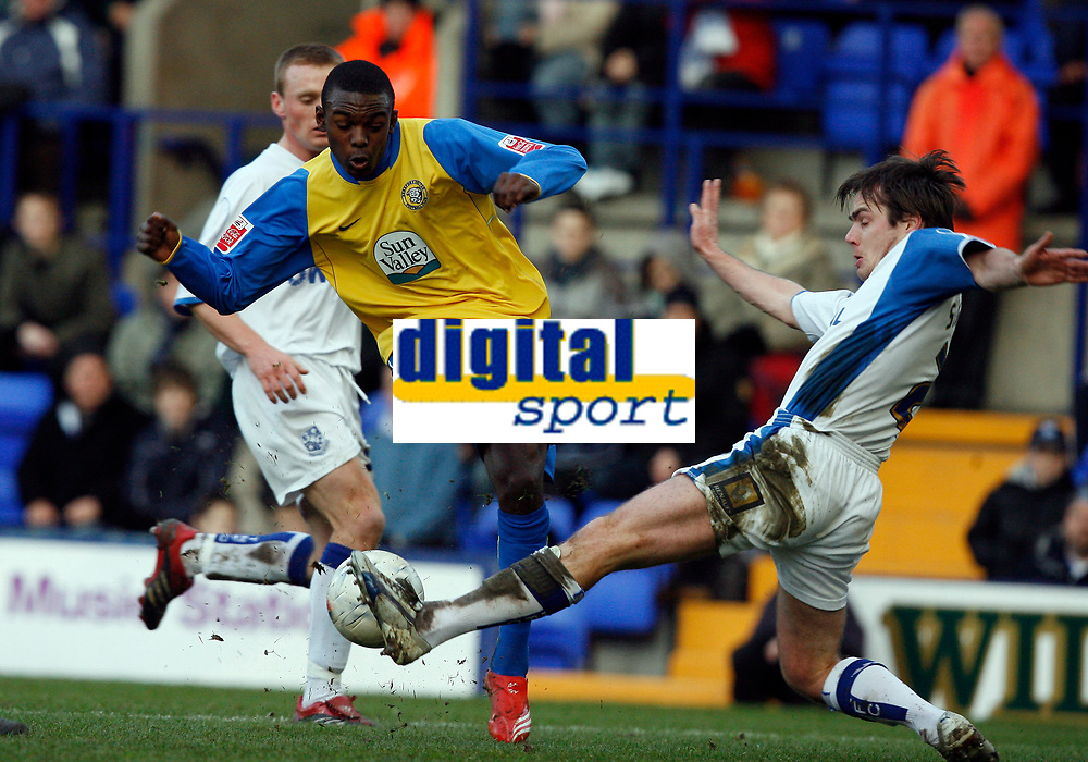 Photo: Paul Greenwood.<br />Tranmere Rovers v Hereford City. FA Cup Third Round. 05/01/2008. <br />Hereford's Theo Robinson, (L) sees his shot blocked by Robbie Stockdale