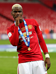 Paul Pogba of Manchester United with his EFL Cup medal  - Mandatory by-line: Matt McNulty/JMP - 26/02/2017 - FOOTBALL - Wembley Stadium - London, England - Manchester United v Southampton - EFL Cup Final
