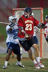 23 April 2010: North Carolina Tar Heels  defenseman Milton Lyles (29) during a 13-5 loss to the Maryland Terrapins in the first round of the ACC Tournament at Byrd Stadium in College Park, MD.