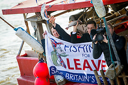 © Licensed to London News Pictures. 21/03/2018. London, UK. Campgainers from the 'Fisherman for Leave' campaign on Embankment Pier, London. Fishermen, many of whom who voted for Britain to leave the EU, are angry at yesterday's announcement that Britain will effectively continue to be involved in the EU's Common Fisheries Policy. Photo credit : Tom Nicholson/LNP