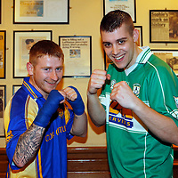 "16/03/2014<br /> Paddy ""Hit Hope"" Halpin of Newmarket on Fergus GAA and Gary ""Wheel Brace"" Whelan of Wolfe Tones GAA, Shannon square up for the White Collar Boxing tournament at the Oakwood Arms Hotel, Shannon. <br /> Picture: Don Moloney / Press 22"