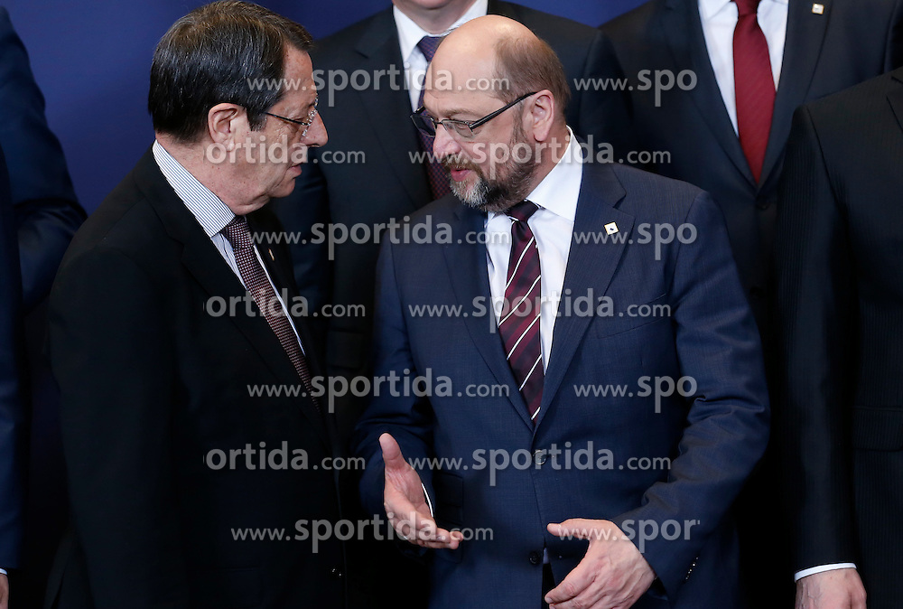 European Parliament President Martin Schulz(R) talks with Cypriot President Nicos Anastasiades at family photo session during a two-day European Union leaders summit at the EU Council headquarters in Brussels, Belgium, March 17, 2016. EXPA Pictures &copy; 2016, PhotoCredit: EXPA/ Photoshot/ Ye Pingfan<br /> <br /> *****ATTENTION - for AUT, SLO, CRO, SRB, BIH, MAZ, SUI only*****