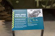 Information panel Churchill armoured repair vehicle (ARV), REME museum, MOD Lyneham, Wiltshire, England, UK
