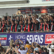 The NZ All Black Sevens receive their cups and celebrate their championship on the official podium at Hong Kong Stadium.  New Zealand defeated England 26-7 in the Cup Final to become the 2014 Hong Kong Sevens Champions, at Hong Kong Stadium, Hong Kong.  Photo by Barry Markowitz, (Courtesy STP/TriMarine) 3/20/14, 7 pm