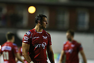 Aaron Shingler of Scarlets looks on. Guinness Pro12 rugby match, Cardiff Blues v Scarlets at the BT Cardiff Arms Park in Cardiff, South Wales on Friday 28th October 2016.<br /> pic by Andrew Orchard, Andrew Orchard sports photography.