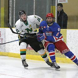 COCHRANE, ON - MAY 2: Josh Bryant #21 of the Thunder Bay North Stars and Nicholas Aromatario #6 of the Oakville Blades skate after the puck during the second period on May 2, 2019 at Tim Horton Events Centre in Cochrane, Ontario, Canada.<br /> (Photo by Tim Bates / OJHL Images)
