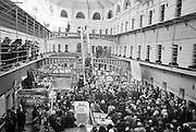 Kilmainham Gaol History Museum opens. President Eamon de Valera opening the Historical Museum in the restored Kilmainham Jail. The cells of the jail can be seen in the background. Formal opening took place on Easter Sunday afternoon..10.04.1966