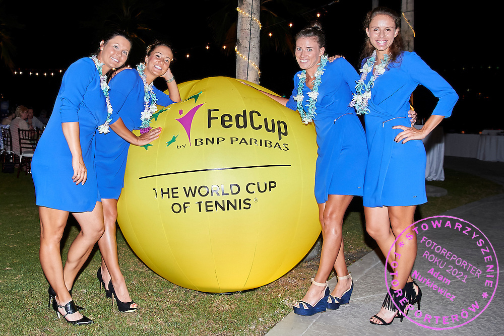 KAILUA KONA, USA - 2016 FEBRUARY 04: (L-R) Klaudia Jans - Ignacik and Paula Kania and Alicja Rosolska and Magda Linette all from Poland pose to picture before official dinner on two days before the Fed Cup World Group II 1st round tennis match between USA and Poland on February 04, 2016 at Holua Tennis Center in Kailua Kona, USA.<br /> <br /> Picture also available in RAW (NEF) or TIFF format on special request.<br /> <br /> Any editorial, commercial or promotional use requires written permission from the author of image.<br /> <br /> Adam Nurkiewicz declares that he has no rights to the image of people at the photographs of his authorship.<br /> <br /> Mandatory credit:<br /> Photo by &copy; Adam Nurkiewicz / Mediasport