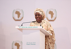 KIGALI, July 18, 2016 (Xinhua) -- Chairperson of the African Union Commission (AUC) Nkosazana Dlamini-Zuma speaks at the closing ceremony of the 27th ordinary session of the AU Heads of States, in Kigali, Rwanda, on July 18, 2016. Nkosazana Dlamini-Zuma, the current chair of the African Union Commission (AUC), is to retain her job as head of the regional bloc as elections to elect her successor failed to produce a result when the AU summit ended here Monday. (Xinhua/Pan Siwei) (Credit Image: © Pan Siwei/Xinhua via ZUMA Wire)