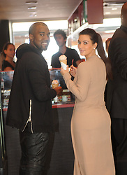 Kim Kardashian and Kanye West having a good time together, hugging each other and having some ice cream during the 65th Cannes film Festival in Cannes, France on May 23, 2012. Photo by ABACAPRESS.COM  | 321427_010 Cannes France