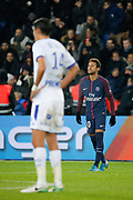 Neymar da Silva Santos Junior - Neymar Jr (PSG) scored a goal and celebrated it, Francois BELLUGOU (ESTAC TRYOYES) during the French Championship Ligue 1 football match between Paris Saint-Germain and ESTAC Troyes on November 29, 2017 at Parc des Princes stadium in Paris, France - Photo Stephane Allaman / ProSportsImages / DPPI