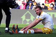Sheffield Wednesday forward Jordan Rhodes (7) injured during the EFL Sky Bet Championship match between Hull City and Sheffield Wednesday at the KCOM Stadium, Kingston upon Hull, England on 14 April 2018. Picture by Mick Atkins.
