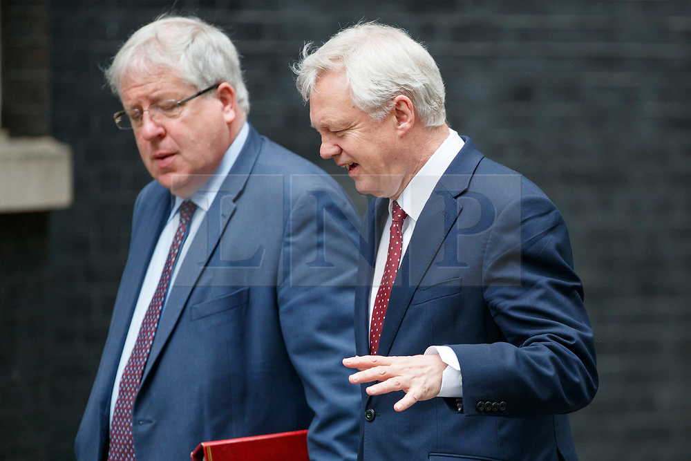 © Licensed to London News Pictures. 11/07/2017. London, UK. Conservative Party Chairman PATRICK MCLOUGHLIN and Secretary of State for Exiting the European Union DAVID DAVIS attend a cabinet meeting in Downing Street, London on Tuesday, 11 July 2017. Photo credit: Tolga Akmen/LNP