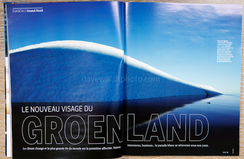 """""""Le Nouvea visage du Groenland"""" - my photograph of an iceberg in Kane Basin, Greenland, makes a double spread in the March 2013 GEO France magazine."""
