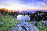 Cliff Lake at sunset. Cabinet Mountains Wilderness Area, Kootenai National Forest, northwest Montana.
