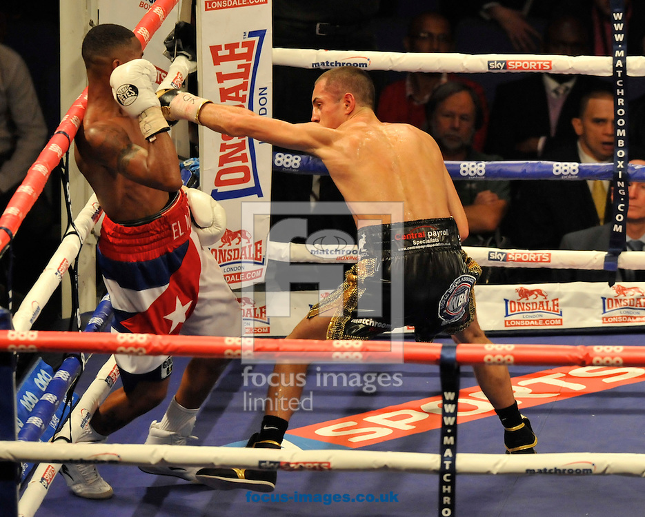 Picture by Alan Stanford/Focus Images Ltd +44 7915 056117<br />05/10/2013<br />Scott Quigg and Yoandris Salinas during their WBA World Super-Bantamweight Championship bout at the O2 Arena, London.