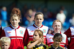 HAVERFORDWEST, WALES - Sunday, August 25, 2013: Wales' Angharad James, Amy Thrupp and Rachel Hignett before the Group A match against France of the UEFA Women's Under-19 Championship Wales 2013 tournament at the Bridge Meadow Stadium. (Pic by David Rawcliffe/Propaganda)