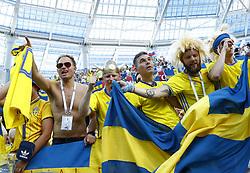 June 18, 2018 - Nizhniy Novgorod, Russia - Group F Sweden v Korea Republic - FIFA World Cup Russia 2018..Sweden supporters celebrate the victory at Nizhny Novgorod Stadium, Russia on June 18, 2018. (Credit Image: © Matteo Ciambelli/NurPhoto via ZUMA Press)