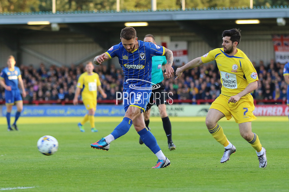 Callum Kennedy defender for AFC Wimbledon (3) shoots before Piero Mingoia midfielder Accrington Stanley (7) can challenge during  the Sky Bet League 2 Play-Off first leg match between AFC Wimbledon and Accrington Stanley at the Cherry Red Records Stadium, Kingston, England on 14 May 2016. Photo by Stuart Butcher.