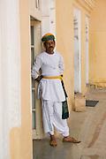 India, Rajasthan, Jodhpur, Mehrangarh fort A guard in traditional dress