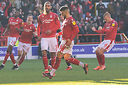 GOAL Lewis Grabban turns after scoring during the EFL Sky Bet Championship match between Nottingham Forest and Luton Town at the City Ground, Nottingham, England on 19 January 2020.