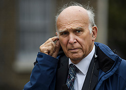 © Licensed to London News Pictures. 21/10/2019. London, UK. Former Lib Dem leader VINCE CABLE MP is seen talking to media in Westminster, London. Last week Parliament sat on a Saturday for the first time since 1982, but failed to vote on Boris Johnson's new Brexit deal. Photo credit: Ben Cawthra/LNP