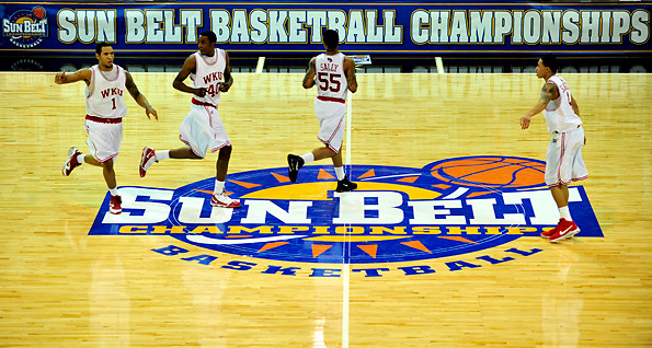Western substitutes in its first game of the Sun Belt tournament in Hot Springs, Ark., against the University of New Orleans.  Western won 83-58.  CHRIS WILSON/HERALD