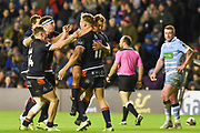 Duhan van der Merwe scores another try and is congratulated by team mates during the 1872 Challenge Cup, Guinness Pro 14 2018_19 match between Edinburgh Rugby and Glasgow Warriors at BT Murrayfield Stadium, Edinburgh, Scotland on 22 December 2018.