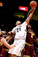 February 16th, 2013 Boulder, CO - Colorado Buffaloes junior forward André Roberson (21) tries to out rebound Arizona State Sun Devils senior guard Chris Colvin (2) in the NCAA basketball game between the Arizona State Sun Devils and the University of Colorado Buffaloes at the Coors Events Center in Boulder CO