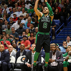 Mar 18, 2018; New Orleans, LA, USA; Boston Celtics guard Shane Larkin (8) shoots against the New Orleans Pelicans during the second half at the Smoothie King Center. Mandatory Credit: Derick E. Hingle-USA TODAY Sports