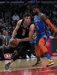 March 8, 2019 - Los Angeles, California, United States of America - Danilo Gallinari #8 of the Los Angeles Clippers drives past Paul George #13 of the Oklahoma Thunder during their NBA game on Friday March 8, 2019 at the Staples Center in Los Angeles, California. Clippers defeat Thunder, 118-110.  JAVIER ROJAS/PI (Credit Image: © Prensa Internacional via ZUMA Wire)