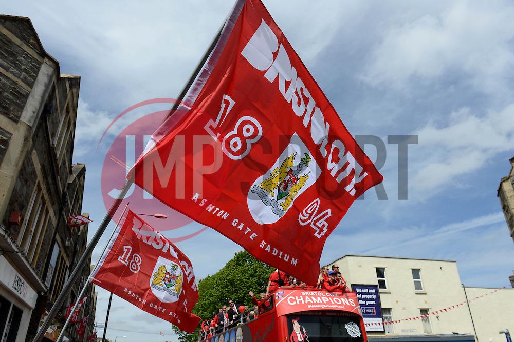 Bristol City flags - Photo mandatory by-line: Dougie Allward/JMP - Mobile: 07966 386802 - 04/05/2015 - SPORT - Football - Bristol -  - Bristol City Celebration Tour