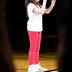 Jun 18, 2013; Miami, FL, USA; Julia Dale, age 12, sings the National Anthem prior to game six in the 2013 NBA Finals between the Miami Heat and the San Antonio Spurs at American Airlines Arena.  Mandatory Credit: Derick E. Hingle-USA TODAY Sports