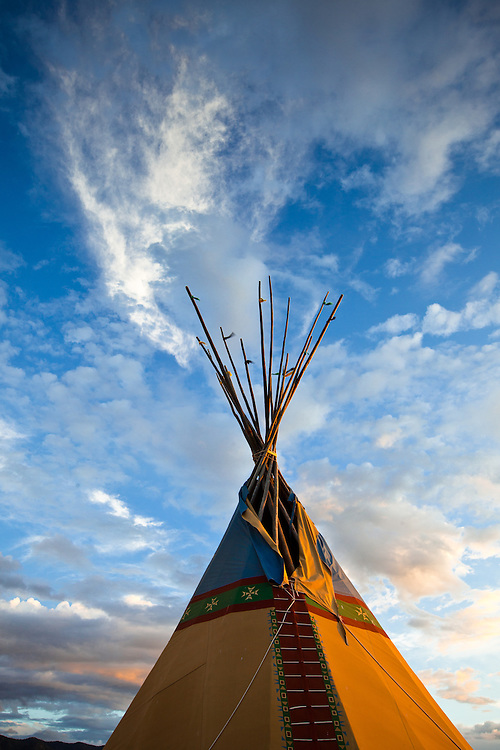 Tipi and sky with clouds. Taos, New Mexico.