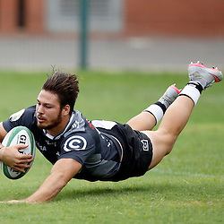 DURBAN, SOUTH AFRICA, 23, April 2016 - Neil Maritz of the Cell C Sharks XV over for a try during the  Currie Cup Qualifiers match between The Cell C Sharks XV vs Windhoek Draught Welwitschias,King Zwelithini Stadium, Umlazi, Durban, South Africa. Kevin Sawyer (Steve Haag Sports) images for social media must have consent from Steve Haag
