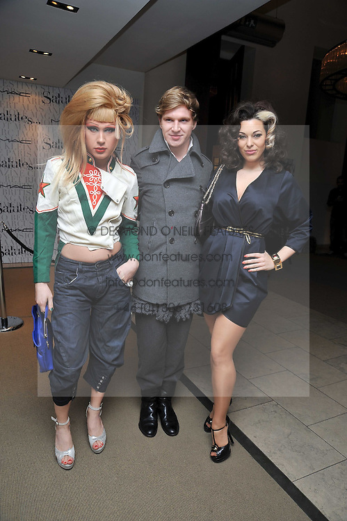 Left to right, JODIE HARSH, HENRY CONWAY and IMMODESTY BLAIZE at the MAC Salutes party paying tribute to renowned makeup artists held at The Hosptal, Endell Street, London on 22nd February 2009.
