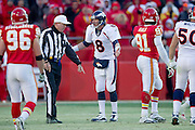 KANSAS CITY, MO - DECEMBER 5:   Kyle Orton #8 of the Denver Broncos argues with a Referee during a game against the Kansas City Chiefs on December 5, 2010 at Arrowhead Stadium in Kansas City, Missouri.  The Chiefs defeated the Broncos 10-6.  (Photo by Wesley Hitt/Getty Images) *** Local Caption *** Kyle Orton