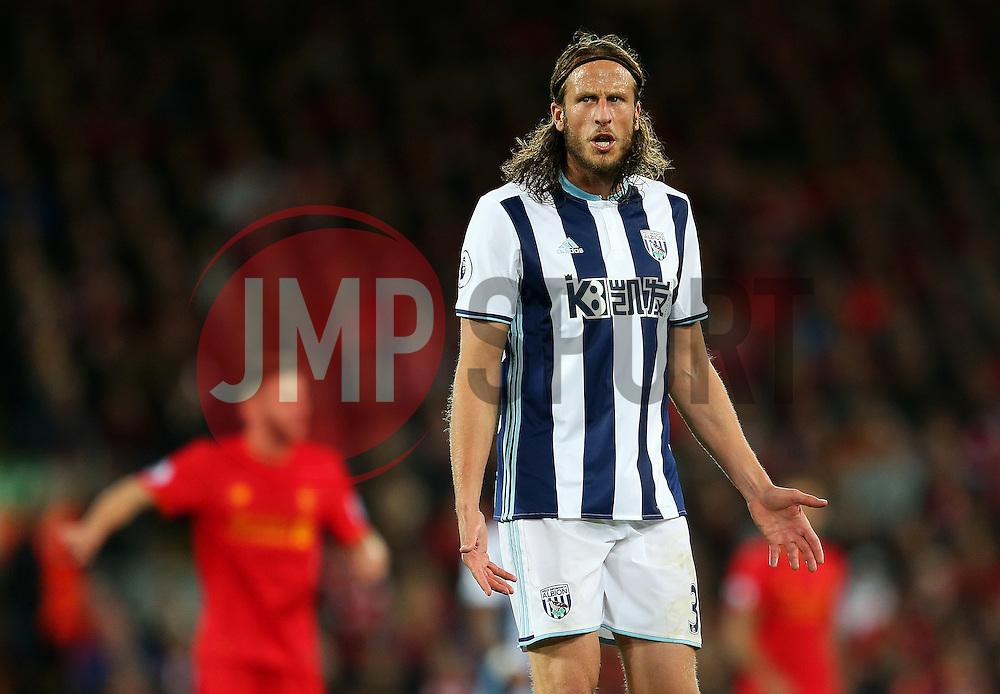 Jonas Olsson of West Bromwich Albion looks dejected - Mandatory by-line: Matt McNulty/JMP - 22/10/2016 - FOOTBALL - Anfield - Liverpool, England - Liverpool v West Bromwich Albion - Premier League