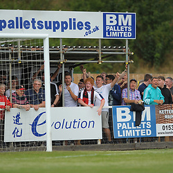 TELFORD COPYRIGHT MIKE SHERIDAN AFC Telford fans  during the National League North fixture between Kettering Town and AFC Telford United at Latimer Park on Saturday, August 3, 2019<br /> <br /> Picture credit: Mike Sheridan<br /> <br /> MS201920-005