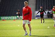 MKDons midfielder Ryan Watson (7) warming up before the EFL Sky Bet League 2 match between Milton Keynes Dons and Exeter City at stadium:mk, Milton Keynes, England on 25 August 2018.