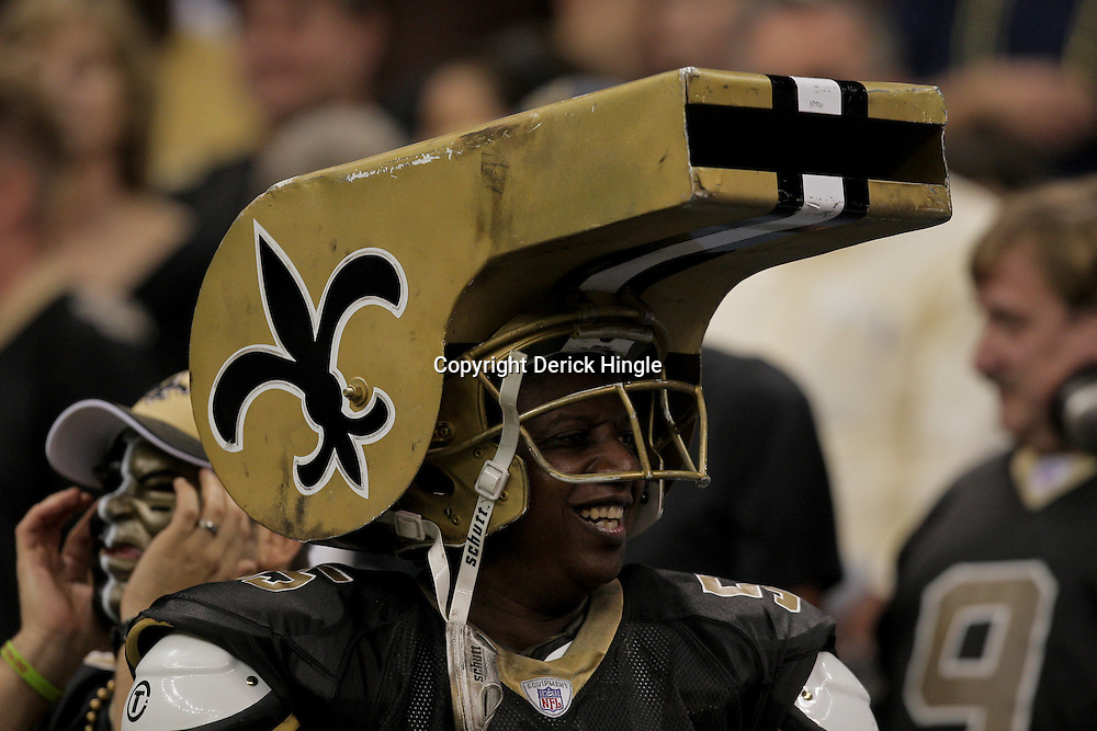 2009 October 04: A New Orleans Saints fan in the stands during a 24-10 win by the New Orleans Saints over the New York Jets at the Louisiana Superdome in New Orleans, Louisiana.