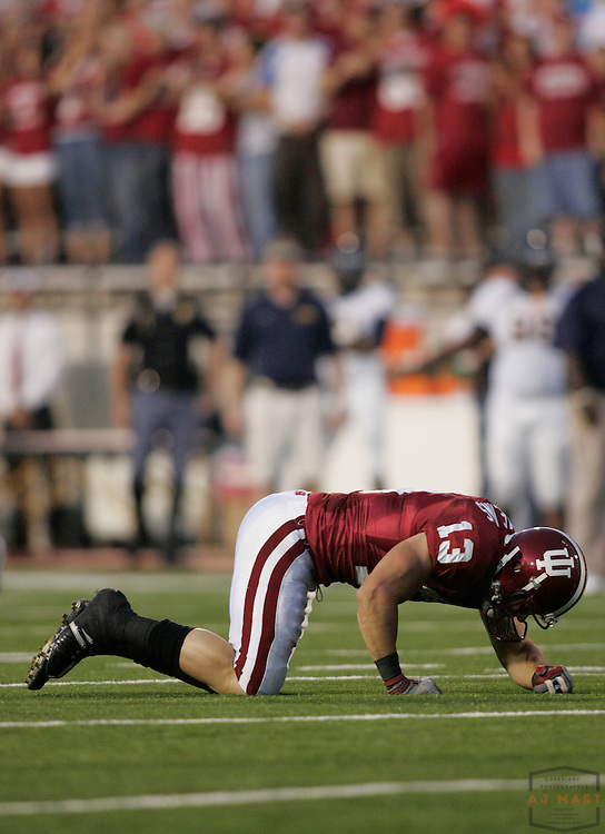 06 September 2008: Indiana wide receiver Andrew Means (13) as the Indiana Hoosiers played the Murray State in a college football game in Bloomington, Ind....
