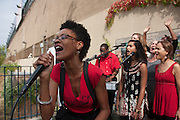 Hunts Point, Bronx, New York - Dragonfly traveled from Brooklyn, N.Y. to perform with Reverend Billy Tales and his choir in Hunts Point, the Bronx, New York on Saturday, October 5, 2013.