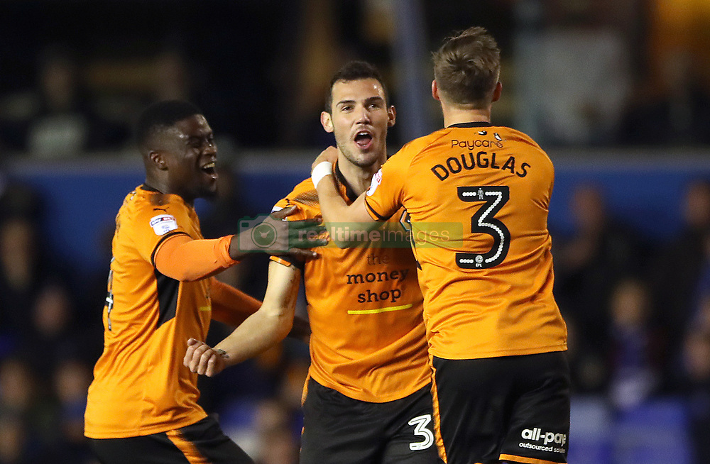 Wolverhampton Wanderers' Leo Bonatini (centre) celebrates scoring his side's first goal of the game during the Sky Bet Championship match at St Andrew's, Birmingham.