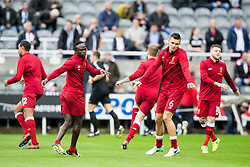NEWCASTLE-UPON-TYNE, ENGLAND - Sunday, October 1, 2017: Sadio Mane and Dejan Lovren during the pre-match warm-up ahead of the FA Premier League match between Newcastle United and Liverpool at St. James' Park. (Pic by Paul Greenwood/Propaganda)