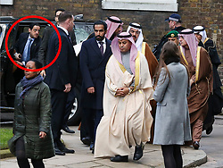 **live news rates apply**<br /> © Licensed to London News Pictures. File picture dated 07/03/2018. London, UK. A man believed to be Maher Abdulaziz Mutreb (circled red), a bodyguard suspected in the murder of  Saudi Arabian journalist Jamal Khashoggi, pictured on Downing Street as part of the Entourage of Saudi Crown Prince Mohammed bin Salman. British Prime Minister Theresa May meet Saudi Crown Prince Mohammed bin Salman at No.10 Downing during a state visit. Photo credit: Dinendra Haria/LNP
